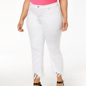 NWT White Tummy Control Fringe Slim Ankle Jeans